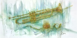 Trumpet in the Days by Remi LaBarre -  sized 30x15 inches. Available from Whitewall Galleries